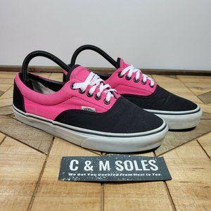 Vans Hot Neon Pink Black Lace Up Canvas Low Top Shoes